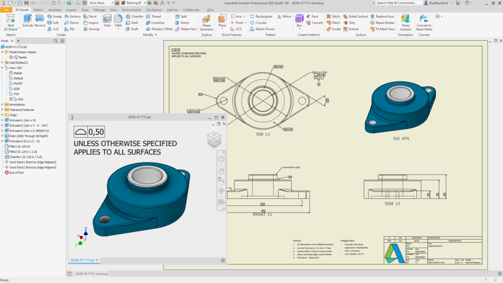 Autodesk Inventor 2022 automatically creating drawing views from model views, including annotations
